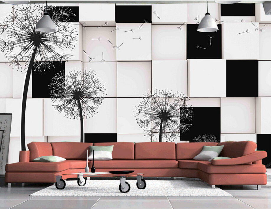 Custom papel DE parede 3 d,Dandelion,3D stereoscopic wallpaper for living room backdrop bedroom embossed wallpaper