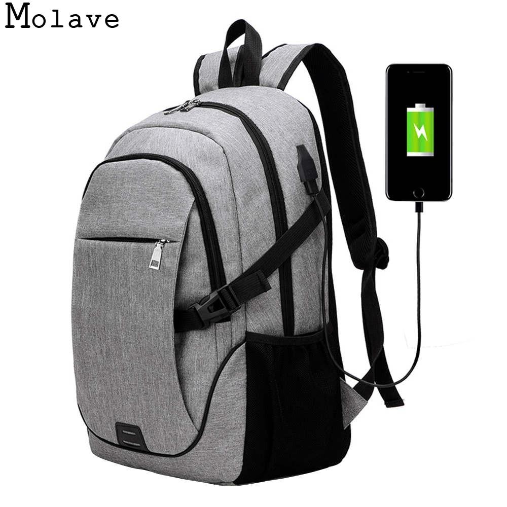 MOLAVE Backpacks men trend shoulder bag leisure business travel computer school bag Canvas zipper solid backpack dec8 new style school bags for boys