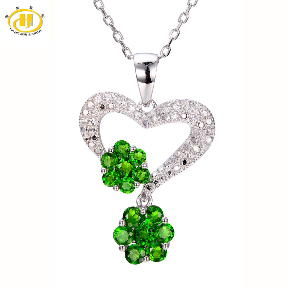 Hutang Natural Chrome Diopside Pendant 925 Sterling Silver Flower Necklace Green Gemstone Fine Jewelry Hutang