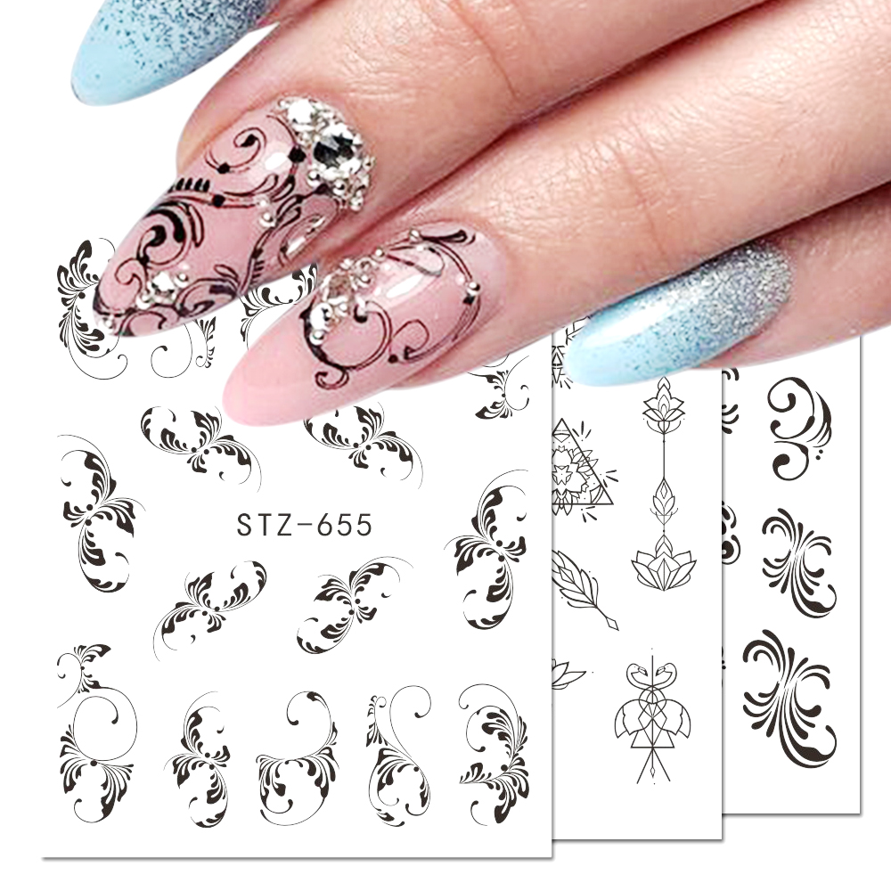 1pcs Nail Sticker Flower Flakes Water Transfer Decals Retro Black Hollow Tattoo Wraps Nail Art Decoration Manicure JISTZ609-658
