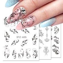 1pcs Nail Sticker Flower Flakes Water Transfer Decals Retro Black Hollow Tattoo Wraps Nail Art Decoration Manicure JISTZ609 658
