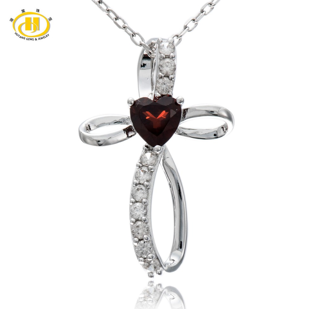 Hutang Natural Heart Garnet Pendant Solid 925 Sterling Silver Neckalce For Women Mothers Day GiftHutang Natural Heart Garnet Pendant Solid 925 Sterling Silver Neckalce For Women Mothers Day Gift