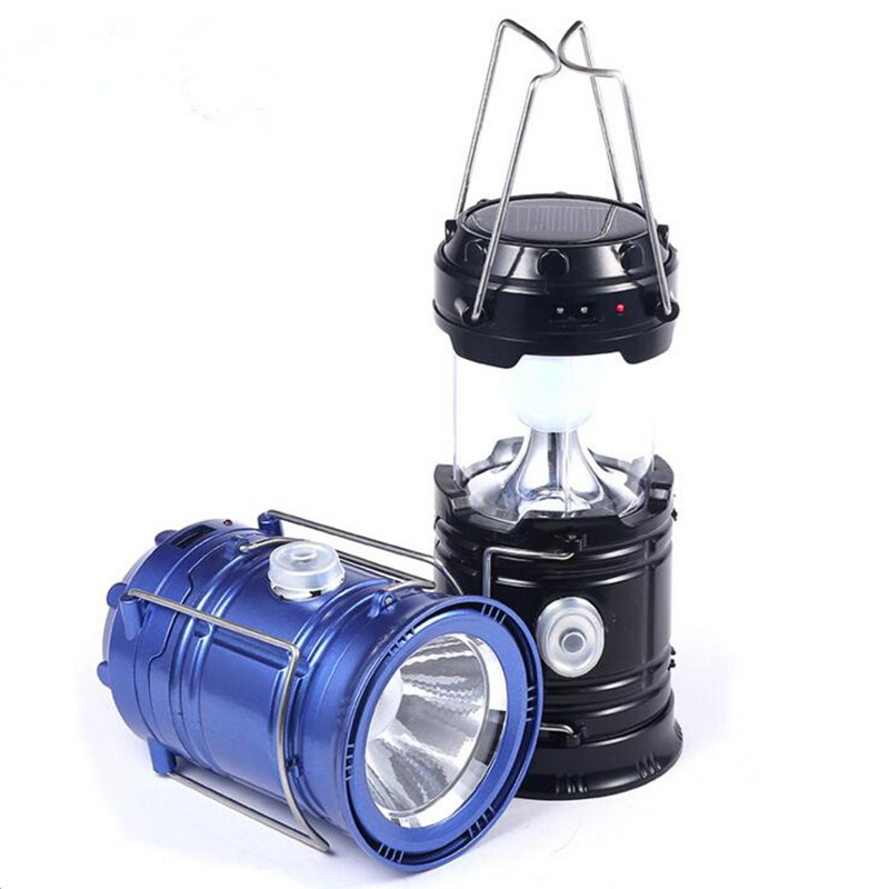 Vintage 6 LEDs Rechargeable Camping Light Collapsible Solar Camping Lantern Tent Lights for Outdoor Camping Hiking in Solar Lamps from Lights Lighting
