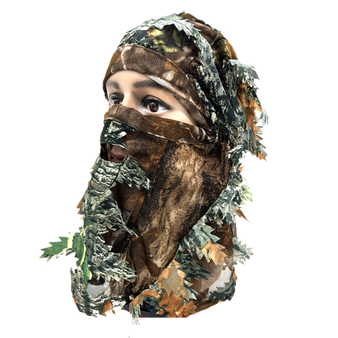 3D Leaf Camouflage Mask Full Face Mask Wargame Cycling Hunting Army Bike Military Helmet Liner Tactical Airsoft Cap