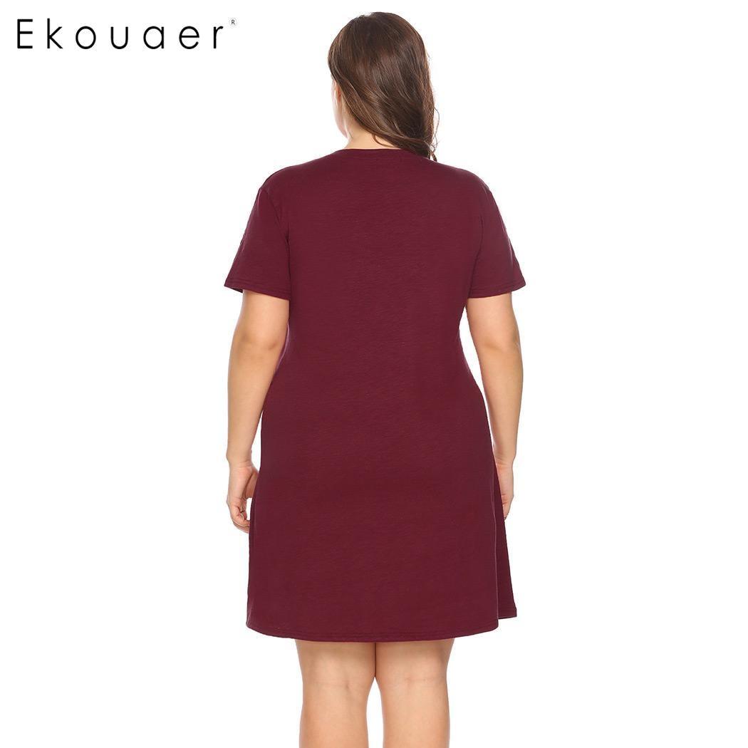 Ekouaer Women Big Size Nightdress Sleepwear Short Sleeve Letter Star Print V-Neck Sleepshirt Nightgown Female Plus Size Homewear 4