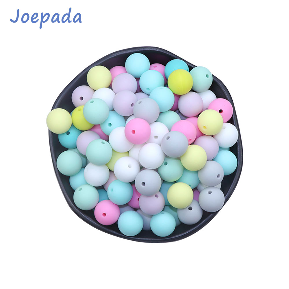 Joepada 10pcs 12mm Silicone Teething Beads Baby Toys Chewable Pacifier Clips Food Grade BPA FREE