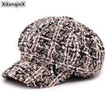 XdanqinX Womens Autumn Winter Fashion Retro Newsboy Caps New Style Plaid Joker Female Beret Hat Warm Vintage Lady Hats