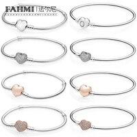 FAHMI 925 пробы 100% Серебряный Классический Простой браслет в форме сердца леди DIY бисером серебряные украшения подарок Прямая продажа с фабрики