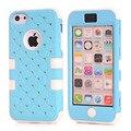 Estrela À Prova de Choque de Borracha de Silicone Hybird Case Capa para iPhone 5C + Protetor de Tela