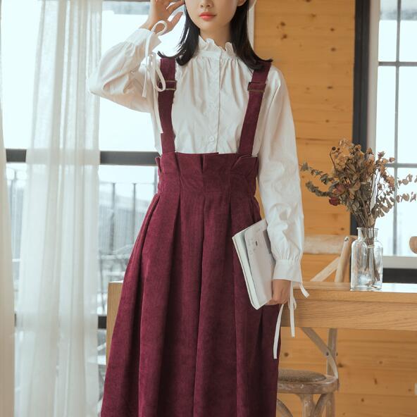 Japan Style Kawaii Sundress Women Sleeveless Vest Corduroy Dresses Burgundy,Navy Blue,Brown Mori Girl Vintage Dress girl