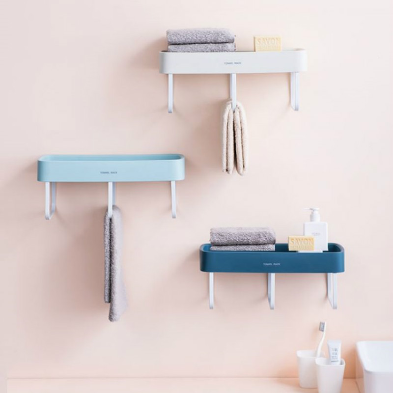 Bathroom vanity wall hanging towel rack free punch single rod towel wall hanging rack bar storage shelf ZP3061639