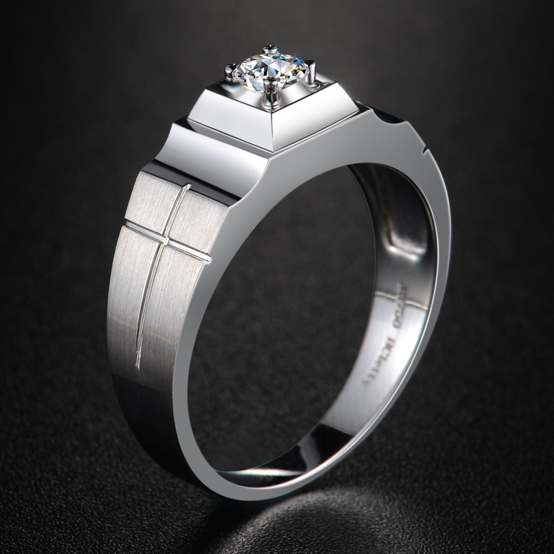 18K Gold Diamond Ring for Men Fine Jewelry Wedding Engagement Bands SI/H 3EX Round Natural Diamond