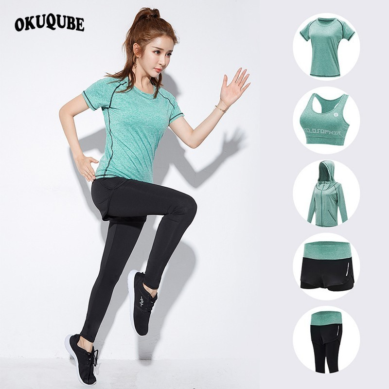 OKUQUBE 2018 New Women Sport Suit Traceless Yoga Clothing Solid Fitness Wear Female Elastic Gym Set Breathable S XXL Sportswear