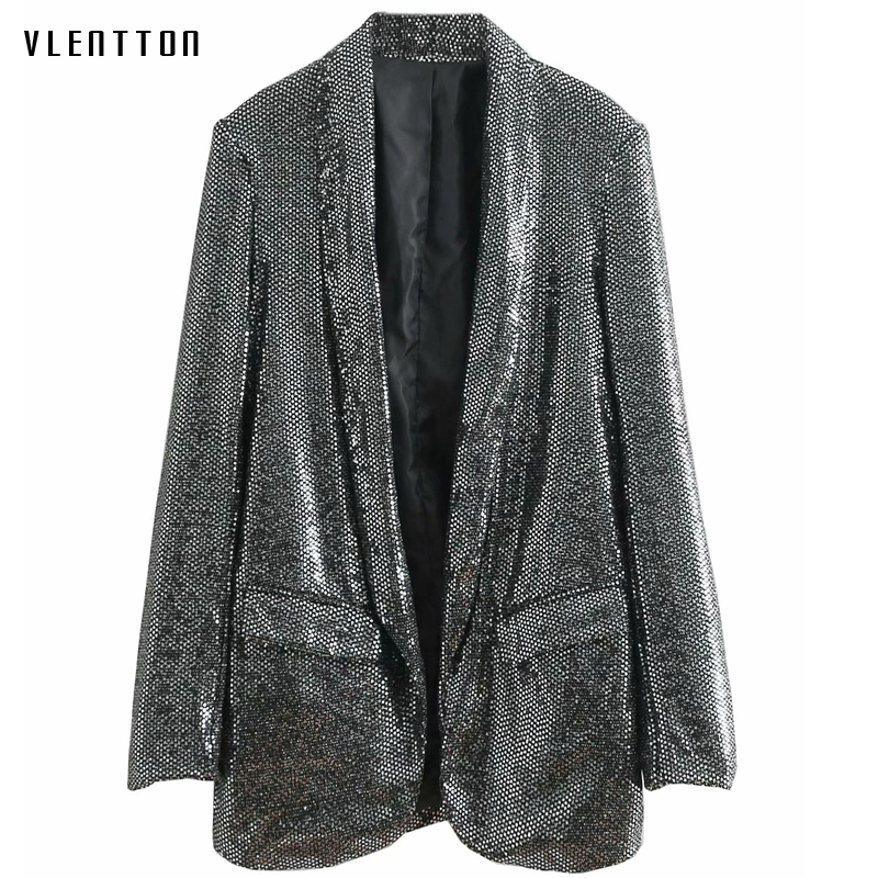 2019 New Vintage Long Blazer Women Long Sleeve Silver Sequins Elegant Office Blazers Suit Spring Autumn Casual Loose Coat Female