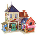 Wooden Chalets British Musical Instruments Shop Building 3D Puzzle Toys Children's Educational Jigsaw Wooden Puzzle