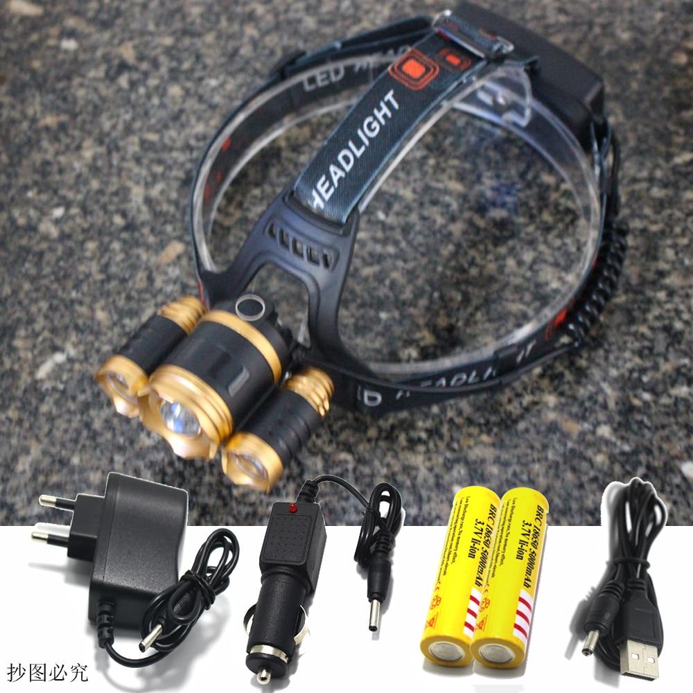8000 lumens 3XT6 2 R5 LED Headlight Zoom Head Lamp camping Flashlight led Lanterna Headlamp Battery