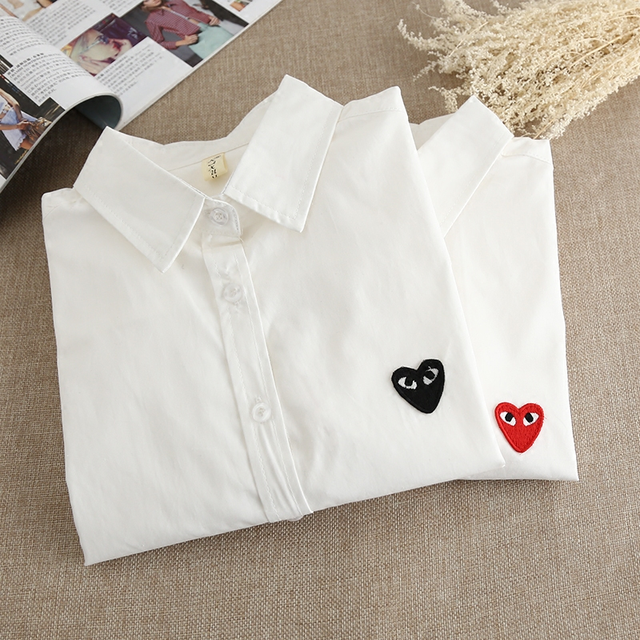2016 spring cotton cultivation all-match backing thin shirt Ladies Cotton White Shirt female long sleeved red embroidery