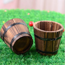 Antique Finishing Small Barrel Small Wooden Ornamental Flower Pot Flower Basket Flower Bowyer for Wdding Home Decor Decoration