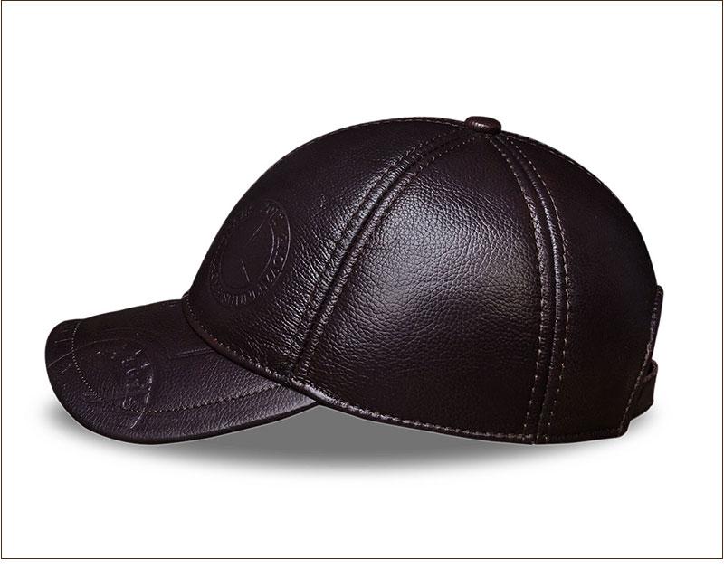 Genuine Leather Embossed Mens Baseball Cap - Brown Side View
