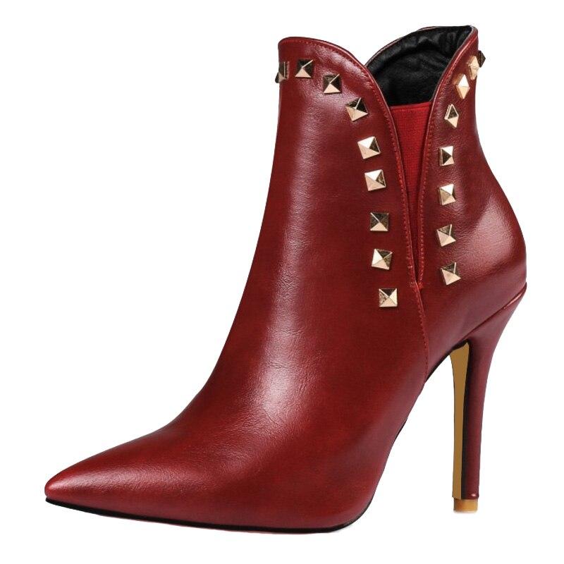 Chelsea Rouge Filles Courtes Cm 10 Sjjh vin Toe Stiletto Bottes Femme Mode Cool Rivet Noir rouge Chaussures Talons Q053 Grande blanc Taille Cheville Point Avec 0S8q5xZ7qw