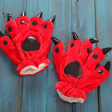 winter Mittens child Animal Bear Cat Claw Paw Footed Cartoon Pajama Gloves Kids Cosplay Soft Plush girl Mittens Halloween Gloves