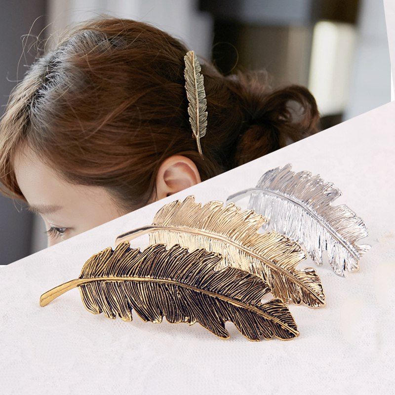 Trendy Statement Barrettes Headwear Exaggerated Feather Leaves Spring Hairpins Hair Clip Wholesale Hair Jewelry For Women