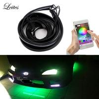 4pcs RGB APP Control Car Flexible LED Strip Decorative Atmosphere Lamp Under Tube Light Underbody Car