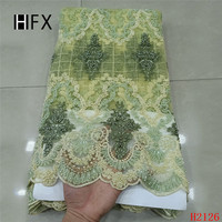 Heavy Handmade Beaded French Lace Dress Tulle Lace Latest Grass Green Embroidery Lace Fabric Luxury African Lace Fabric X2126