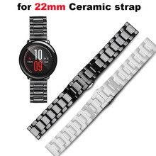 Купить с кэшбэком Ceramic Bracelet Watchband Men Women Smart Watch Pulsera Correa Band 22mm Wrist Strap Watchbands Metal Buckle Black Wristbands