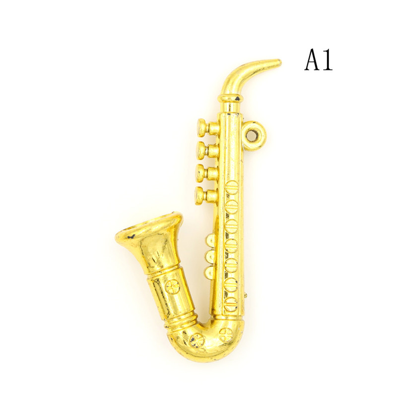 mini portable creative trumpet saxophone 1 12 dollhouse miniature plastic musical instrument