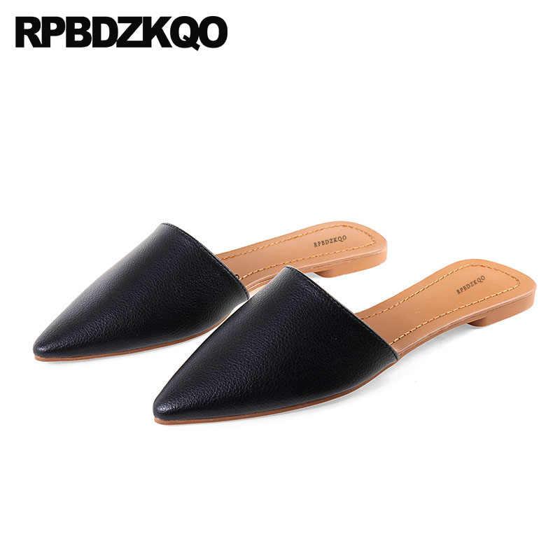 963fe7ffc8 Black Mules Cheap Shoes China Pointed Toe Women Female Italian Celebrity  2018 Designer Slippers Chinese Slip On Fashion White