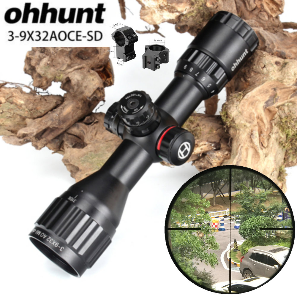 ohhunt Hunting Optics 3-9x32 AO Compact 1/2 Half Mil Dot Reticle Riflescopes Turrets Locking with Sun Shade Tactical Rifle Scope tactial qd release rifle scope 3 9x32 1maol mil dot hunting riflescope with sun shade tactical optical sight tube equipment