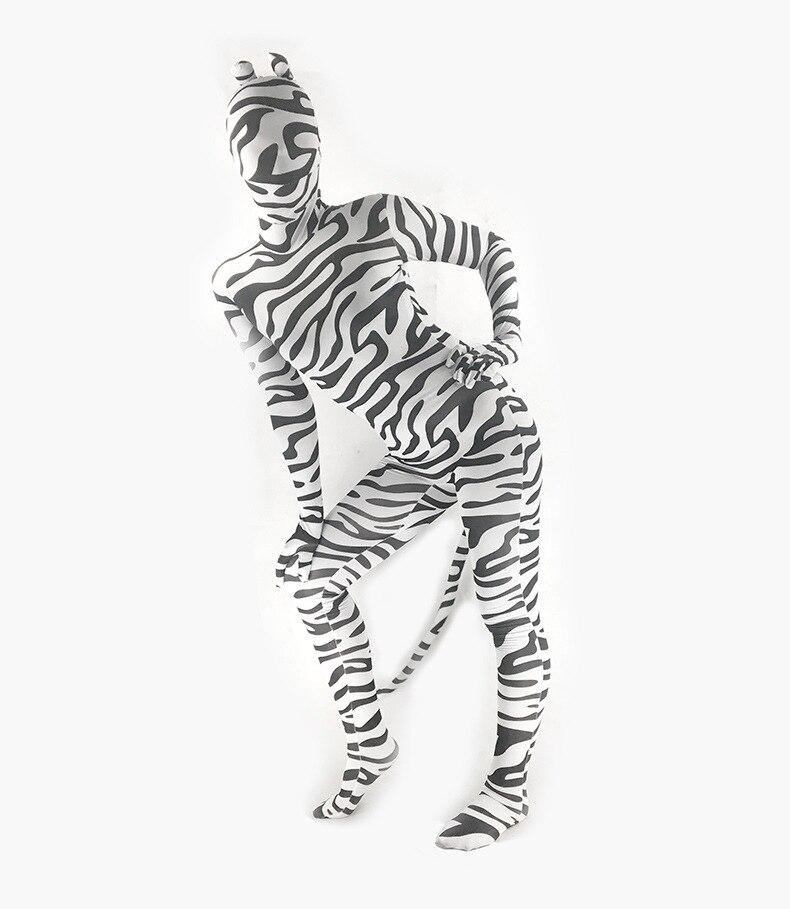 Adulte Spandex Lycra unisexe zèbre imprimé Animal corps complet Zentai Costume avec oreille et queue peau serré Unitard Zentai Costume Body