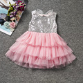 2017 Infant Baby Girls Dress Bowknot Sequined Dress Princess Tutu Cake Dresses Hollow Out Kids Party Dresses