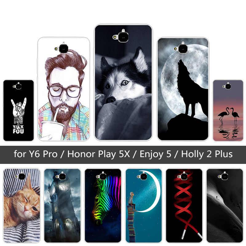 TPU souple FIN LOUP étui pour Huawei Honneur 4C Pro TIT-AL00 Y6 Pro TIT-L01 Profitez de 5 Honneur Holly 2 Plus Couverture Pour Huawei Honor Jouer 5X