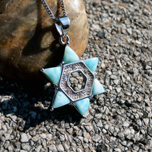 DJ CH Natural Stone Larimar Hexagram Pendants Female 925 Sterling Silver Magen David Star Charms Birthday Gift For Her