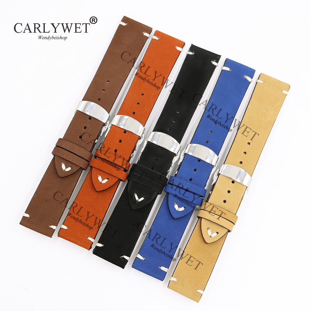 все цены на CARLYWET 20 22 24mm Leather Brown Black Khaki VINTAGE Replacement Wrist Watch Band Strap Belt with Clasp for Brand Watch