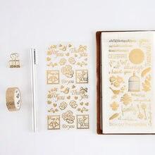 4 sztuk Vintage złota naklejka foliowa scrapbooking słodki kociak ptak świętuj dekoracyjne naklejki na notebooka album szkolne F903