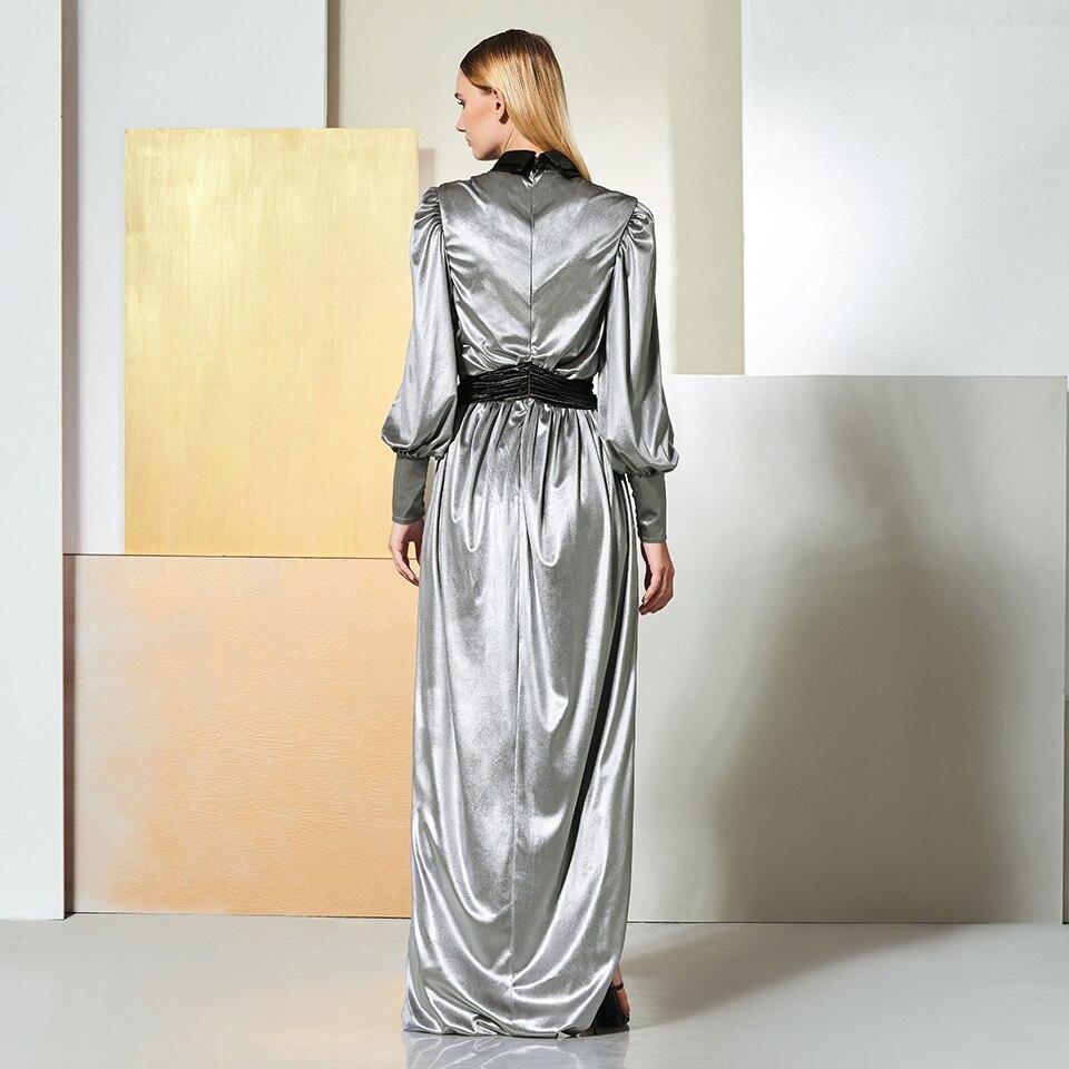 Image 3 - Dressv evening dress long sleeves draped zipper up floor length split front wedding party formal dress a line evening dresses-in Evening Dresses from Weddings & Events