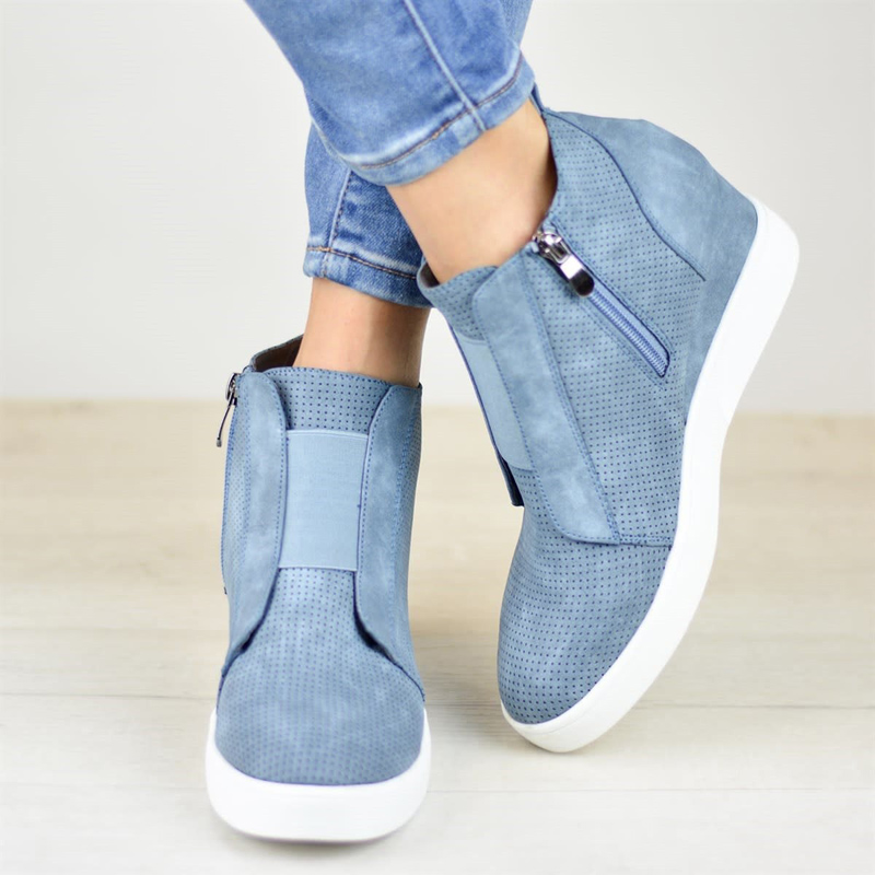 Tangnest Women Platform Ankle Boots Comfortable Sneakers Wedges Slip On Creepers Flats Shoes Woman Booties Size 35-43 XWX6986Tangnest Women Platform Ankle Boots Comfortable Sneakers Wedges Slip On Creepers Flats Shoes Woman Booties Size 35-43 XWX6986