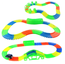 10/80/100/164 PCS Colorful Miraculous Glowing Race Track Bend Flex with a small Car Toy Glow Racing Track Set(China)