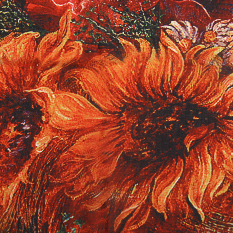 Woman Sunflower Painting Scarf | Lightweight Scarves | Up to 60% Off Now