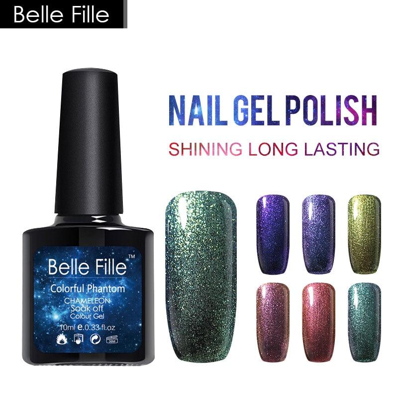 """""""Belle Fille Chameleon Gel"""" nagų lakas ilgai išliekantis dangaus želė lakas 10 m naujausias žvaigždinis gelis su juoda spalva UV gelio nagų dailė"""