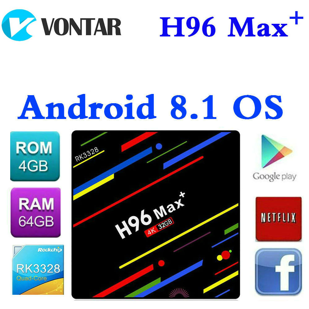 2018 Android 8.1 Smart TV BOX H96 MAX Plus RK3328 4K Media Player QuadCore 4G/32G 64G TVBOX H96 Max + IP TV Set top box USB3.0 h96 max android tv box 4g 32g or 64g or voice control rk3328 4k box 2 4g 5g wifi android 8 1 box set top box h96 max plus