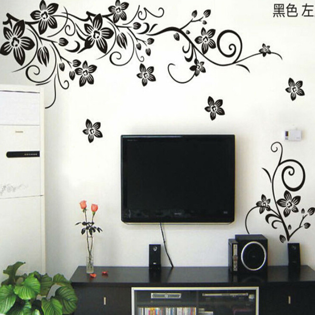Hot vine wall stickers flower wall decal removable art pvc - Wall sticker ideas for living room ...