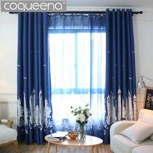 Castillo Diseño Moderno Cortinas para el Dormitorio Sala de estar Cortina de Encargo Cortinas Ciegos Cortinas Cortinas Azul Marino Café