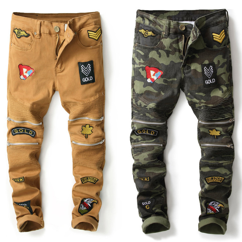 2018 Newly Designer Men Jeans Camouflage Printed Jeans Slim Fit Stretch Long Pants Fashion Patches Spliced Brand Biker Jeans Men italian style fashion men s jeans shorts high quality vintage retro designer classical short ripped jeans brand denim shorts men