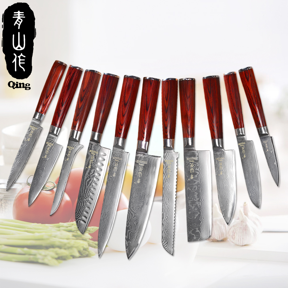 red kitchen knives qing damascus kitchen knives red brown color wood handle 67 layers damascus steel cooking tools 236