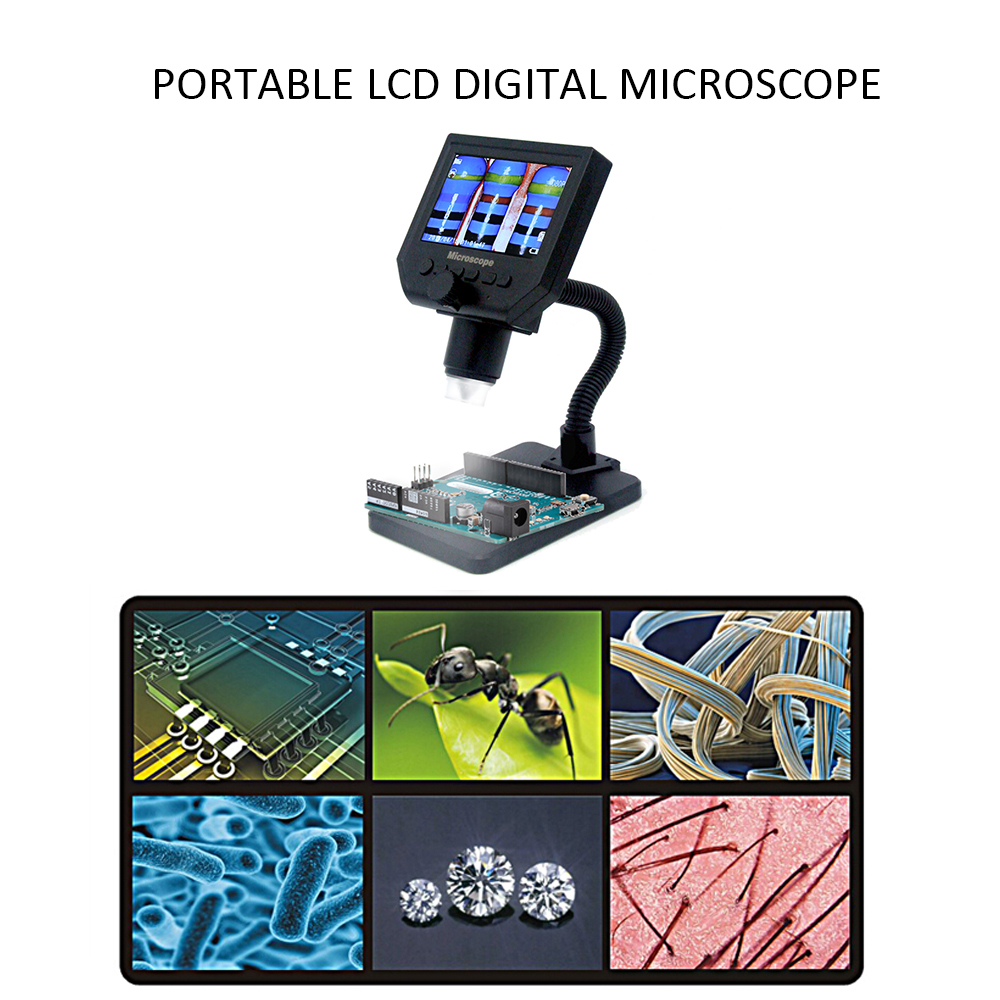 G600 600X HD ポータブル液晶デジタル顕微鏡 LED 拡大鏡 microscopio 高輝度 8 led と内蔵リチウム電池  グループ上の ツール からの 顕微鏡 の中 3