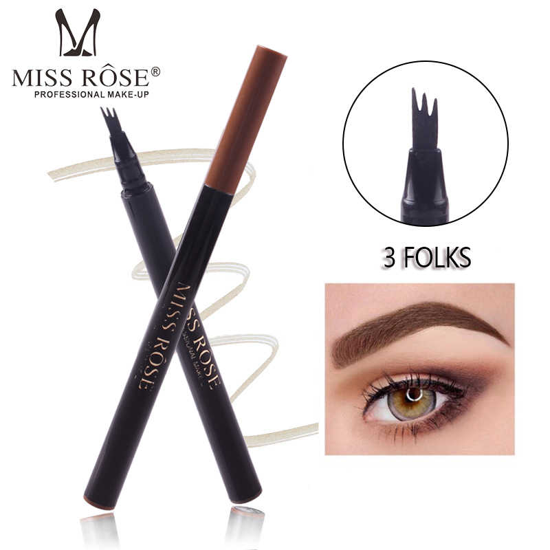 MISS ROSE 1Pcs 3 Colors Microblading Eyebrow Tattoo Pen 3 Fork Tip Fine Sketch Eyebrow Pencil Waterproof Natural Brow Tint TSLM2